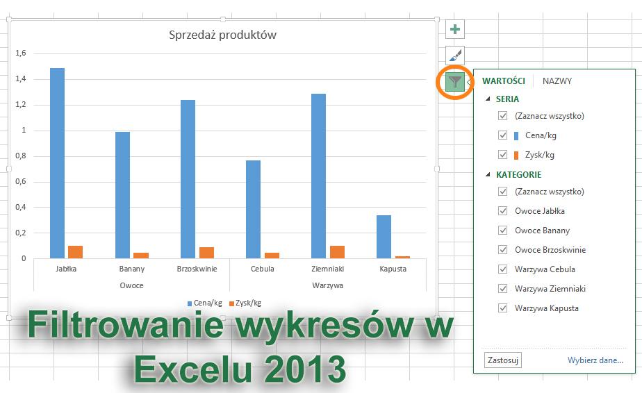Filtrowanie wykresów w Excel'u 2013