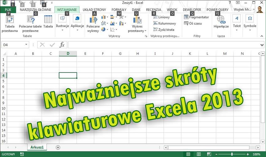 Najważniejsze skróty klawiaturowe w Excelu 2013